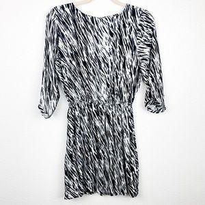 Vince Zebra Print Long Sleeve Midi Dress